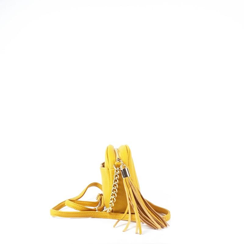 Дамска чанта през рамо в цвят горчица