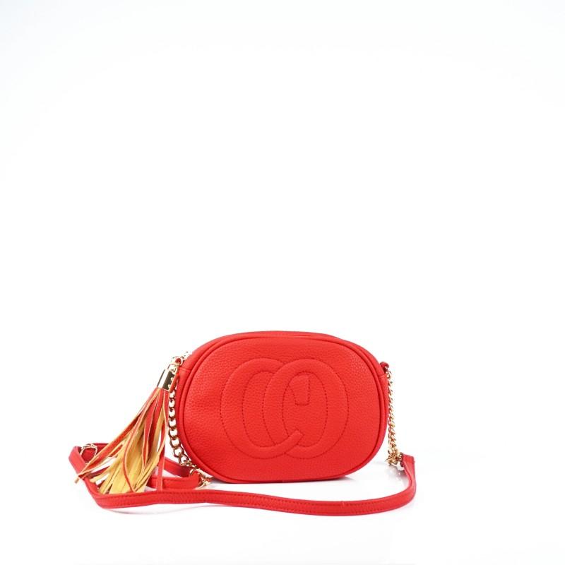Червена дамска чанта през рамо