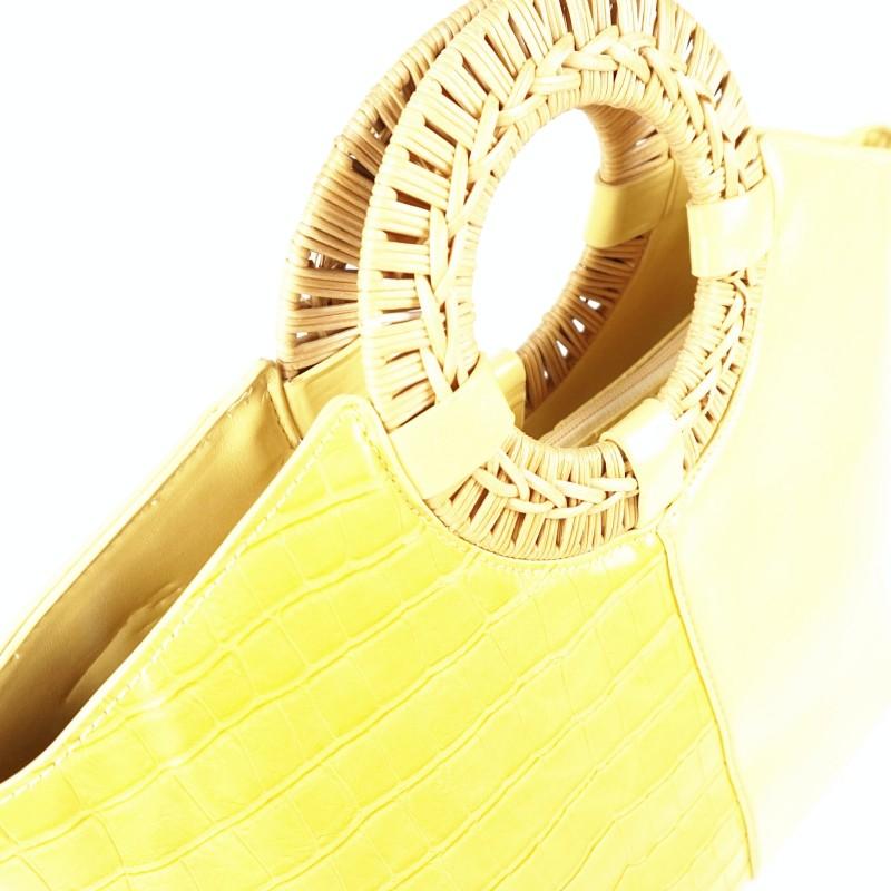 Дамска чанта тип кошница с плетени дръжки