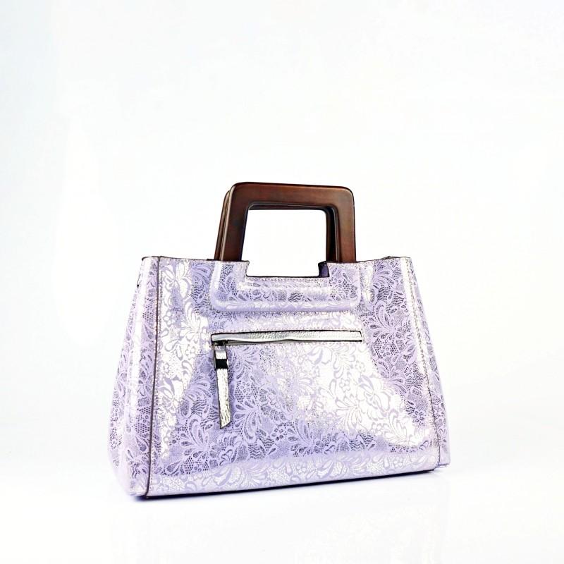 Дамска чанта от естествена кожа с лазерна обработка в лилаво и сребристо