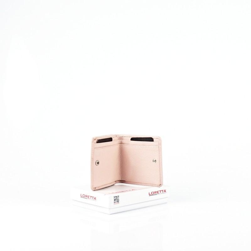 Малко дамско портмоне от естествена кожа в цвят пудра