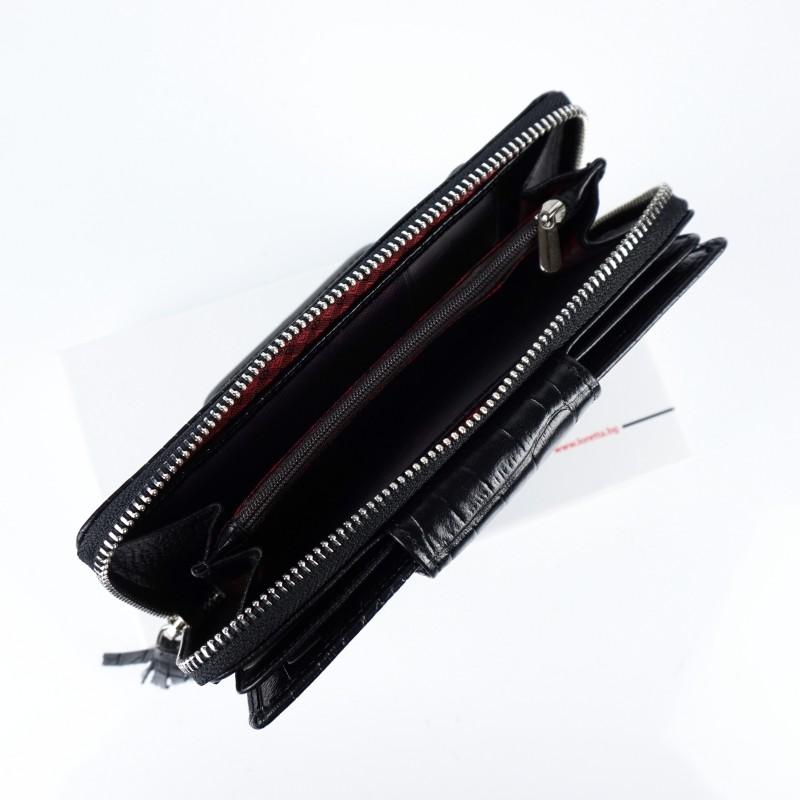 Голямо дамско портмоне от естествена кожа