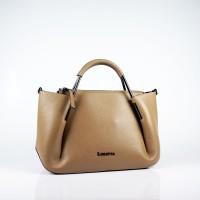 Стилна дамска чанта от естествена кожа в цвят капучино