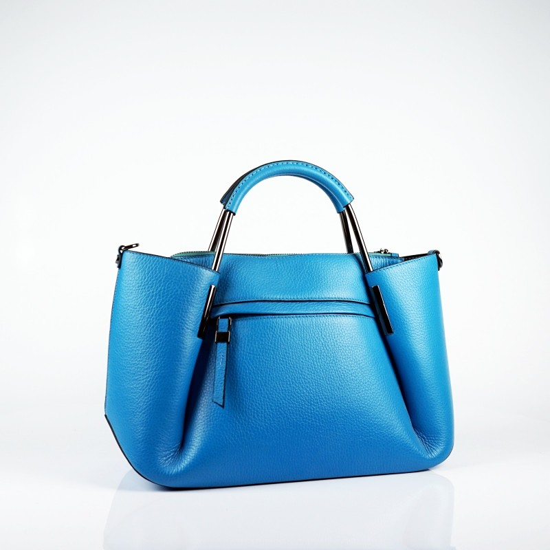 Стилна дамска чанта от естествена кожа в морско синьо