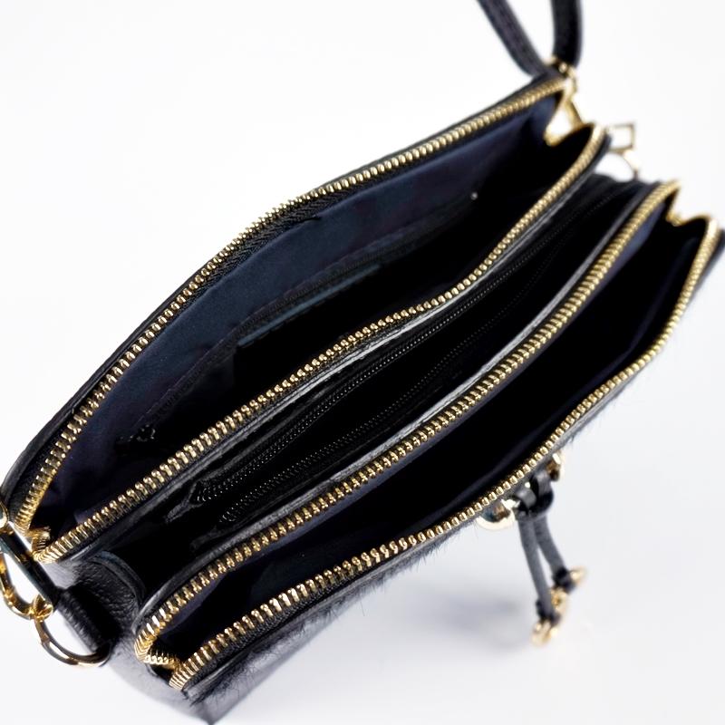 Малка чанта от естествена кожа и естествен косъм