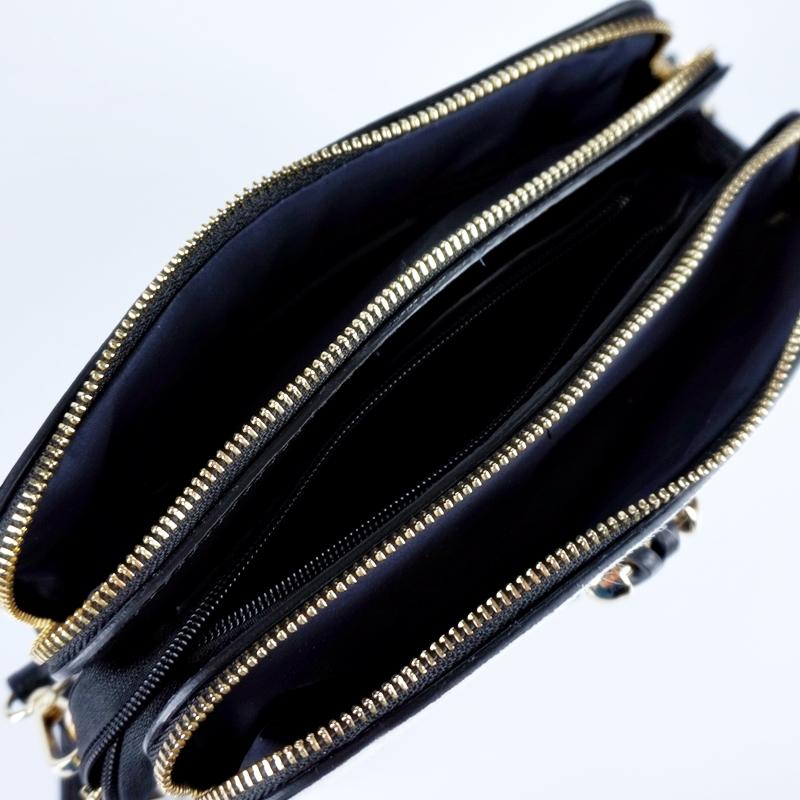 Малка чанта през рамо от естествена кожа с животински принт
