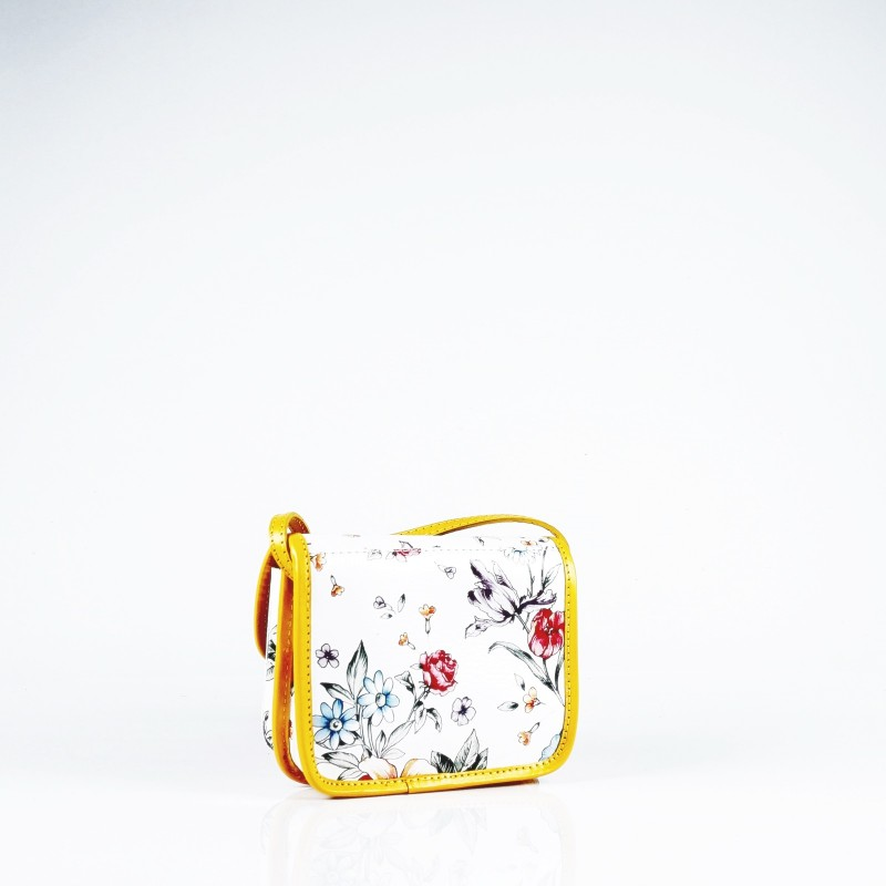 Мини чанта от естествена кожа в цветен десен