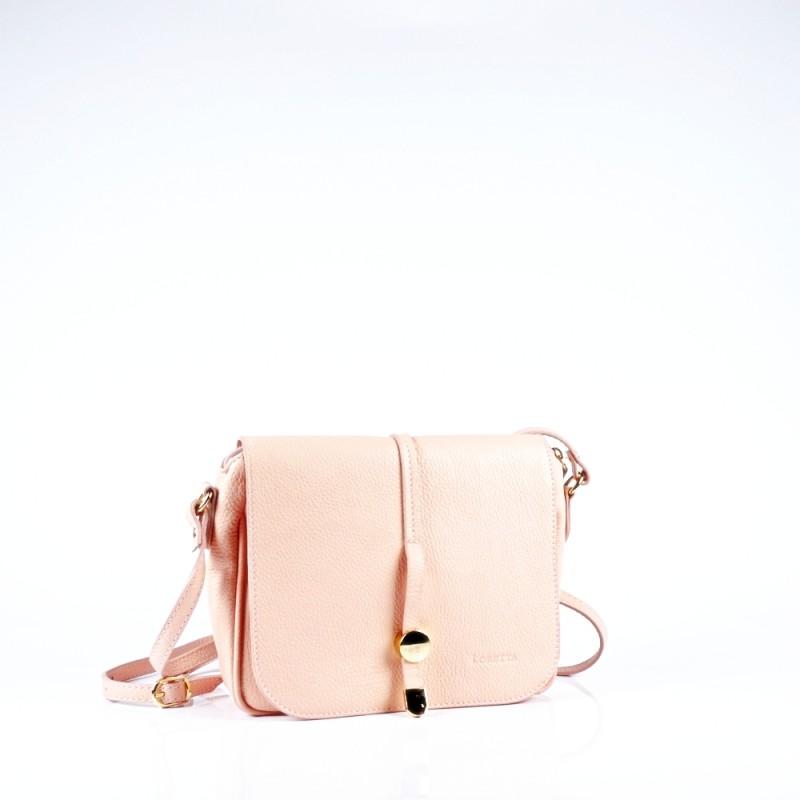 Стилна чанта през рамо в цвят розова пудра