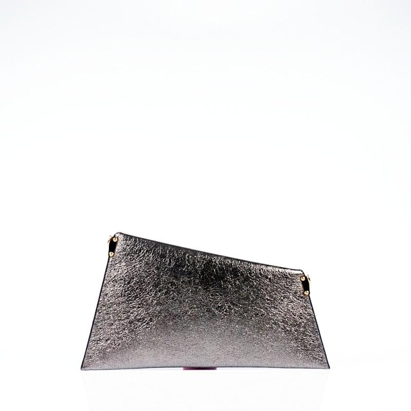 Сребриста дамска чанта тип плик