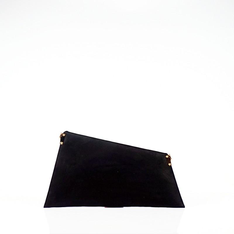 Черна елегантна вечерна чанта тип плик
