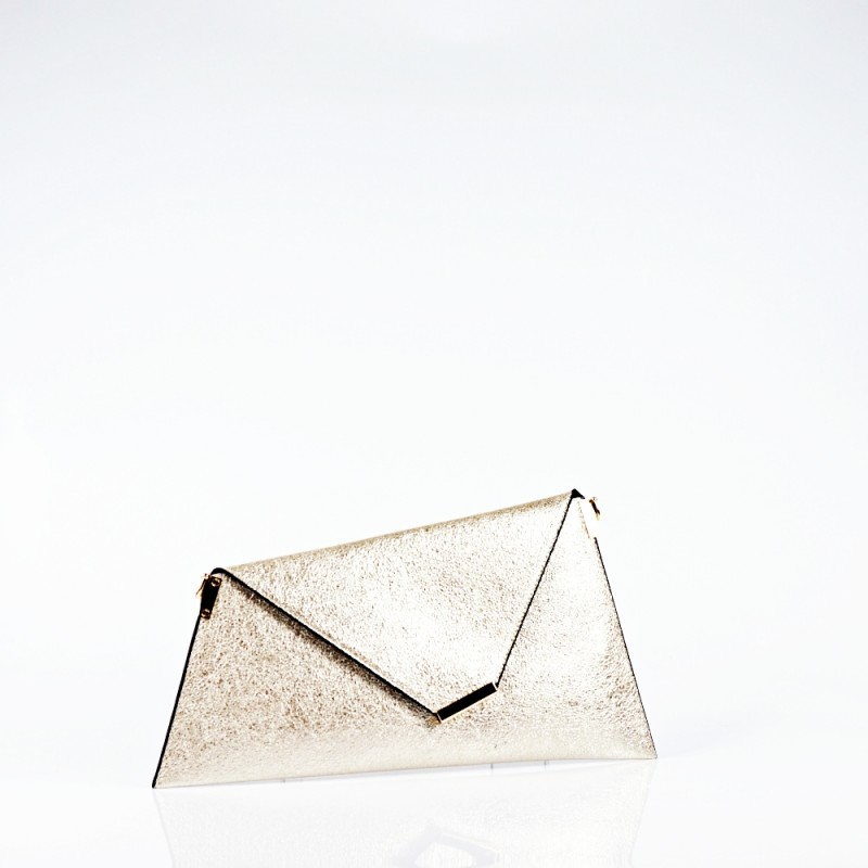 Златна вечерна чанта тип плик