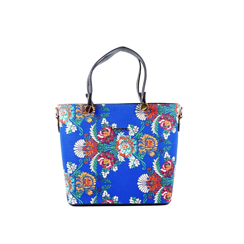 Ръчна чанта от еко кожа в цветен десен