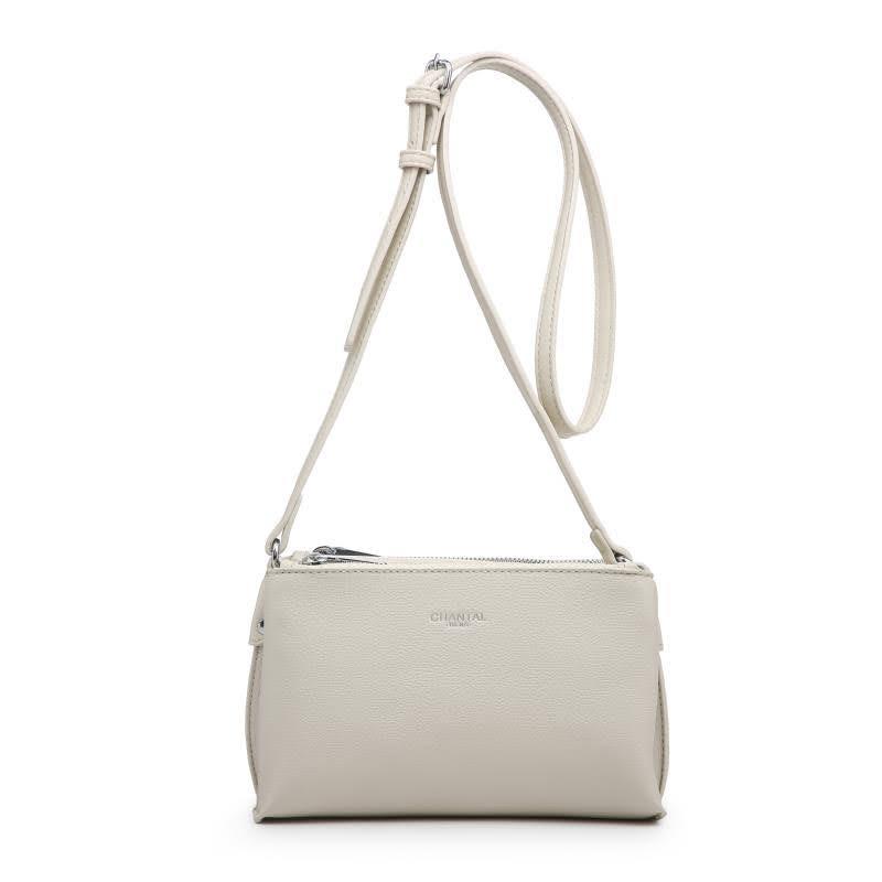 Малка дамска чанта през рамо в светло бежово