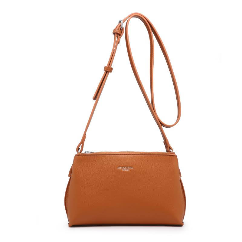 Малка дамска чанта през рамо в цвят коняк