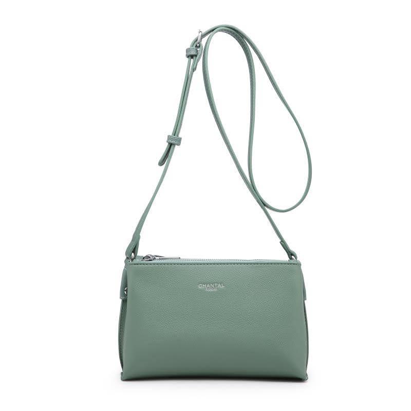Малка дамска чанта през рамо в зелен цвят