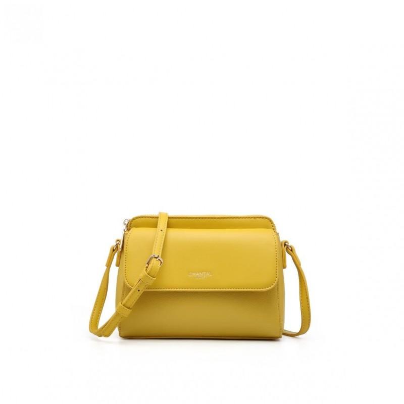 Малка дамска чанта през рамо в жълт цвят