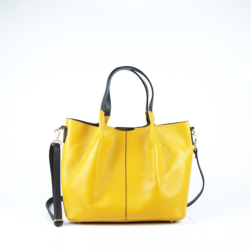 Чанта от естествена кожа тип кошница