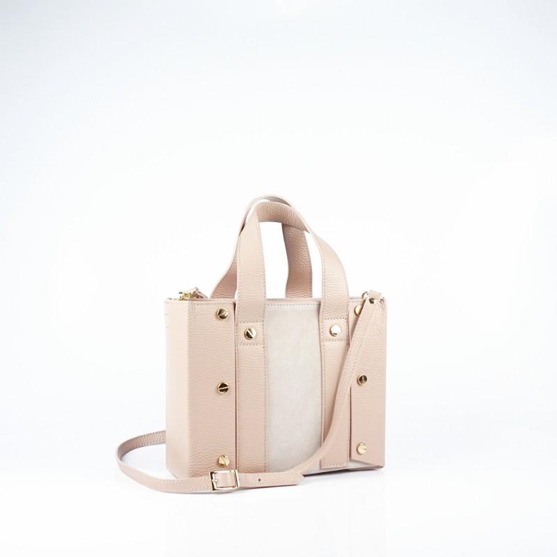 Дамска чанта от естествена кожа и велур в цвят розова пудра