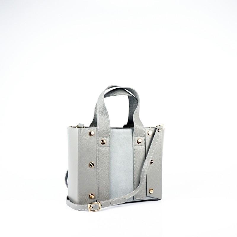 Дамска чанта от естествена кожа и велур в сив цвят