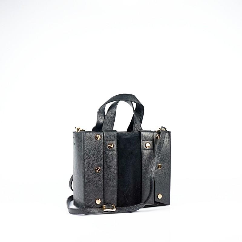 Дамска чанта от естествена кожа и велур в черен цвят