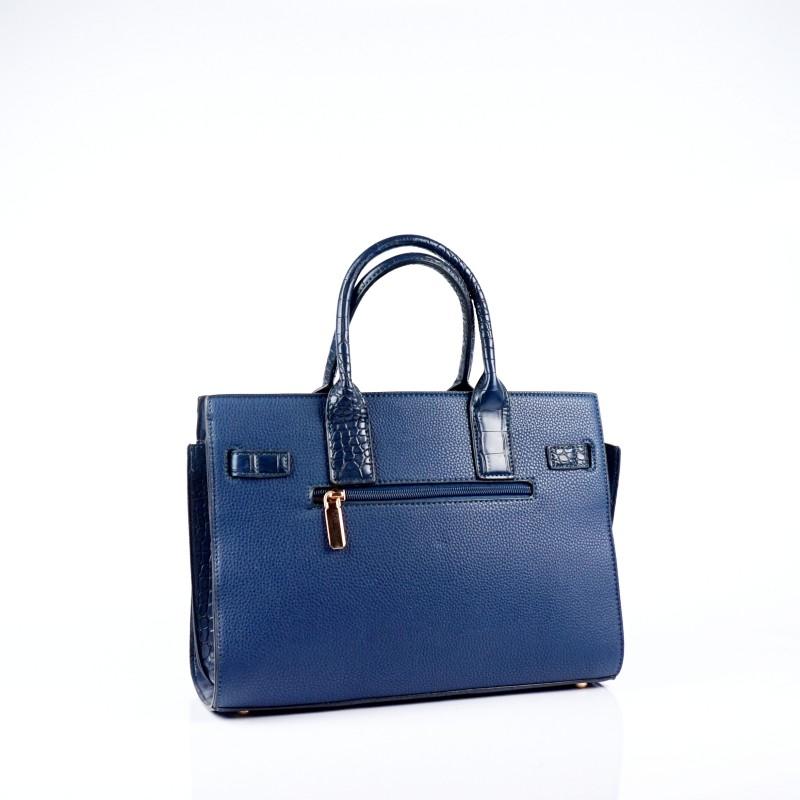 Елегантна дамска чанта от еко кожа в тъмно син цвят