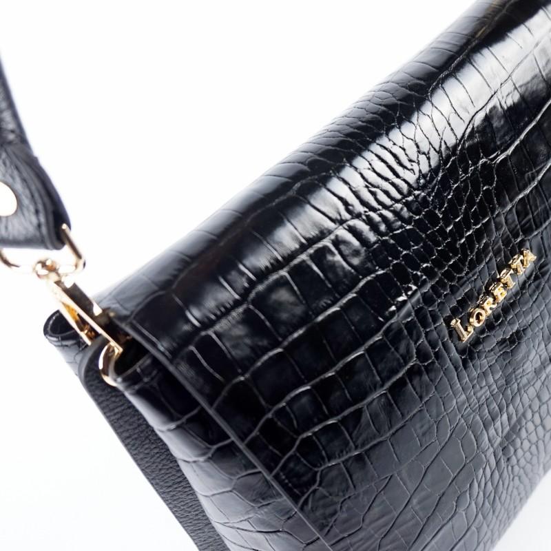 Дамска чанта от естествена кожа в черен цвят