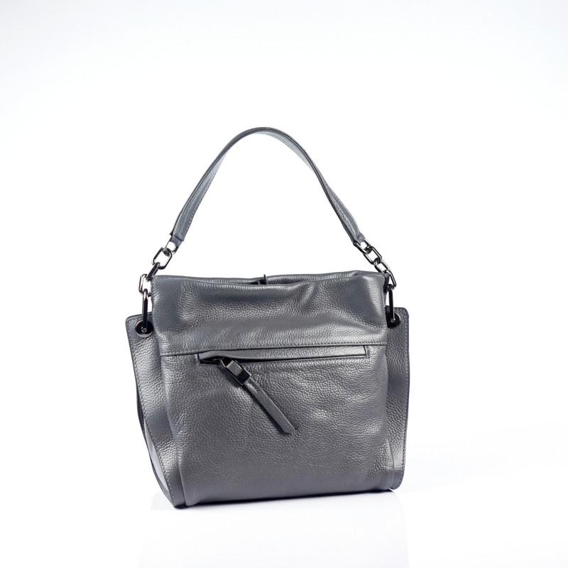 Дамска чанта от естествена кожа в сив цвят