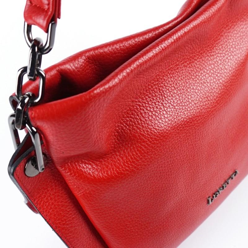 Дамска чанта от естествена кожа в класическо червено