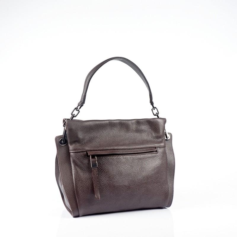 Дамска чанта от естествена кожа в тъмно кафяв цвят