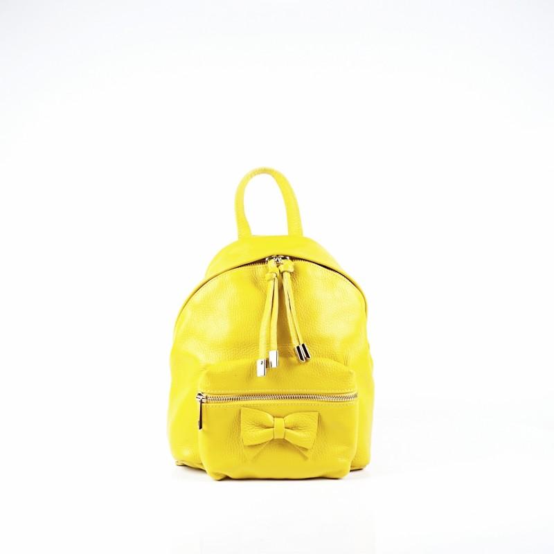 Дамска раница от естествена кожа в жълт цвят