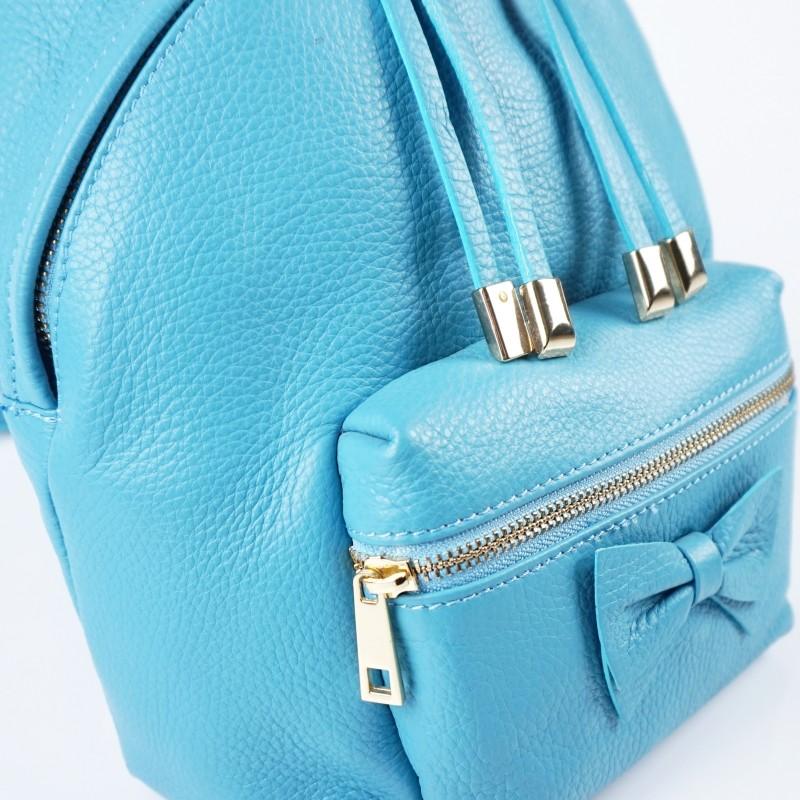 Дамска раница от естествена кожа в син цвят