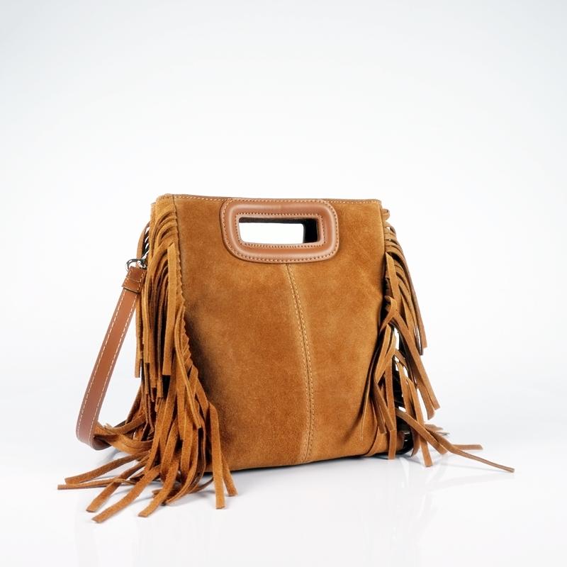 Велурена чанта с ресни